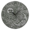 Sun and Moon Silver Effect Terracotta Clock