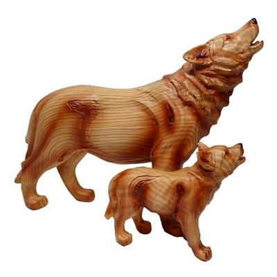 Wood Effect Wolf & Cub Figurine