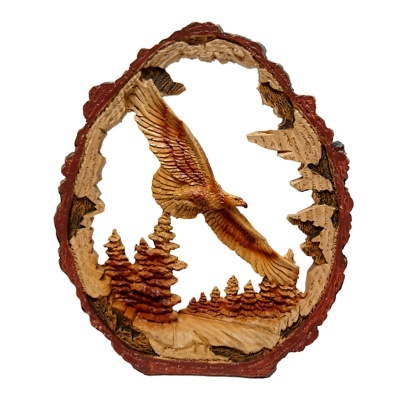 Wood Effect Flying Eagle in Log