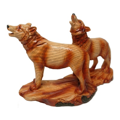 Wood Effect Wolf Pair Figurine