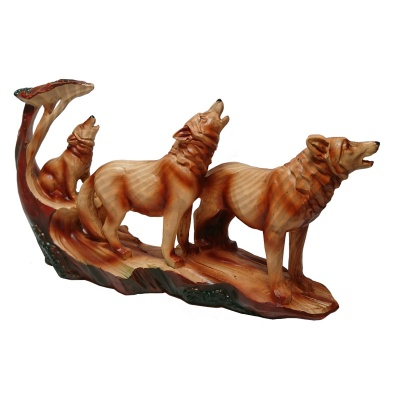 Wood Effect Wolf Family under Tree