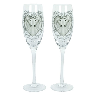 Unicorn Champagne Glasses by Anne Stokes