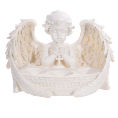 White Cherub 3 Tea Light Holder