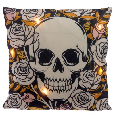 Skulls and Roses Light Up LED Cushion