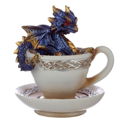 Blue Baby Dragon in a Teacup