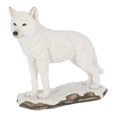 Winter Spirit Standing White Wolf Figurine