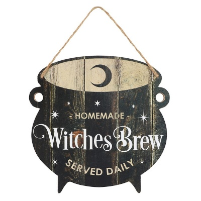 Witches Brew Cauldron Shaped Sign