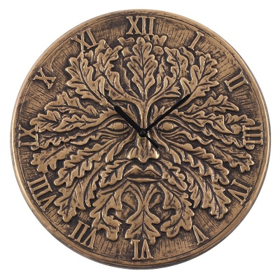 Green Man Bronze Effect Terracotta Clock by Lisa Parker