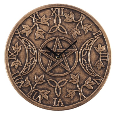 Triple Moon Bronze Effect Terracotta Clock by Lisa Parker