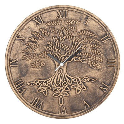 Tree of Life Bronze Effect Terracotta Clock by Lisa Parker