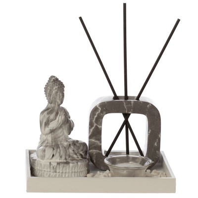 Dark Marble Effect Buddha Tea Light Holder
