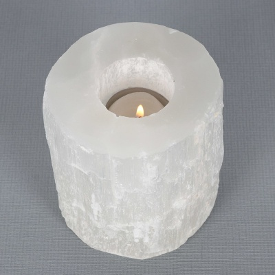 Selenite Cylinder Tealight Holder