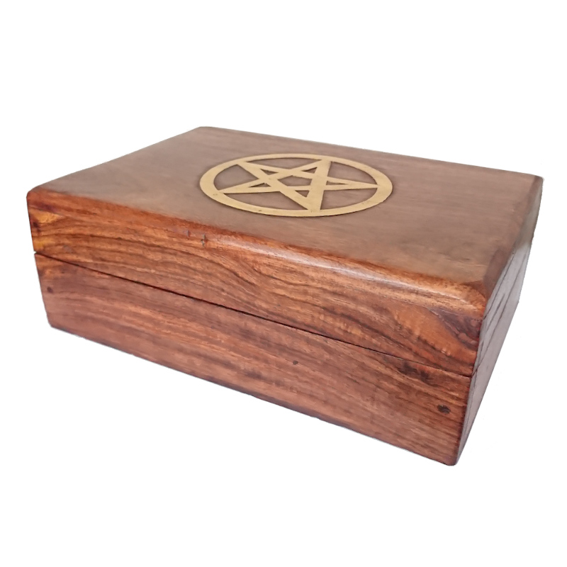 Pentagram Inlay Sheesham Wooden Trinket Box
