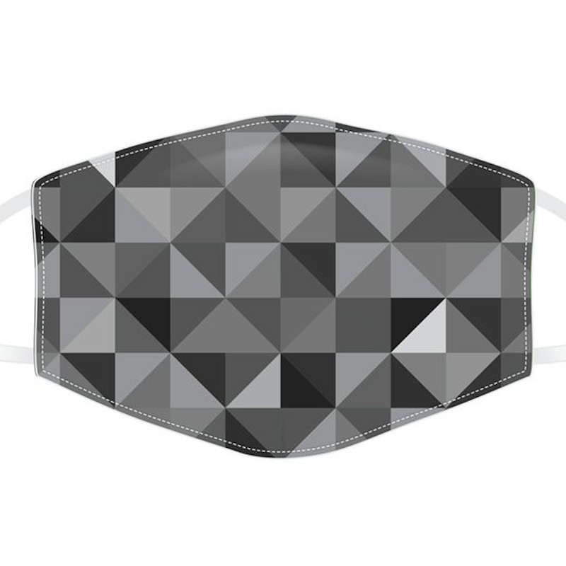 Grey Geometric Reusable Face Covering