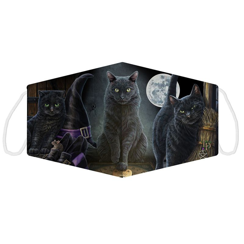 Black Cats Face Covering by Lisa Parker