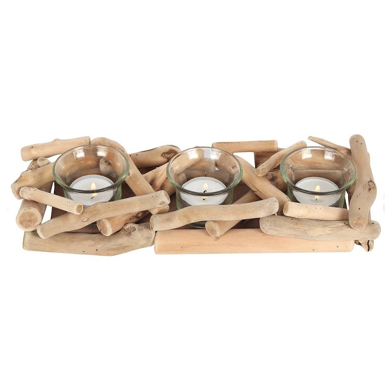 3 Piece Driftwood Candle Holder